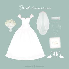Hand drawn bride dress with cute accessories  Free Vector