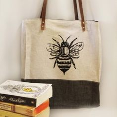evakatharina Unisex Linen and Leather Bee Tote on Etsy 300x300 Unisex Bee Tote