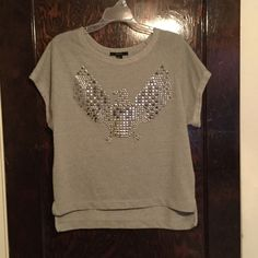 Forever 21 Eagle studded shirt Very nice stud detail of a metallic silver bird/eagle. No studs missing. Really cute and loose fit. Looks just like new! Forever 21 Tops Tees - Short Sleeve