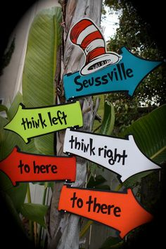 DR. SEUSS/Cat in the Hat...Whimsical directional SIGNS - Words can be customized. Great for a classroom!
