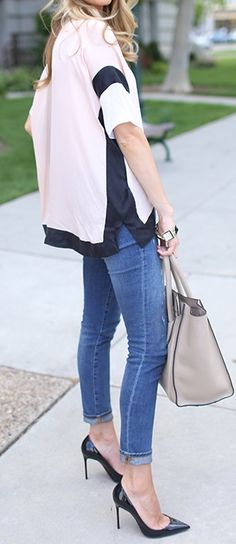 Love the stilettos with jeans.