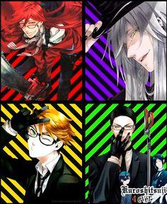 Kuroshitsuji Shinigami: Grell sutcliffe, Undertaker, Ronald knox, William T. Spears