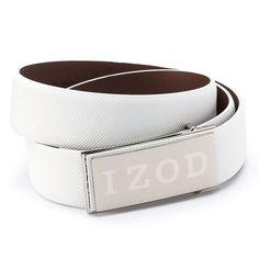 Men's IZOD Logo Plaque Golf Belt, Size: 46, White
