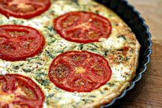 Tomato & Goat Cheese Tart. Oh, when summer comes and I have fresh tomatoes and basil... yum!