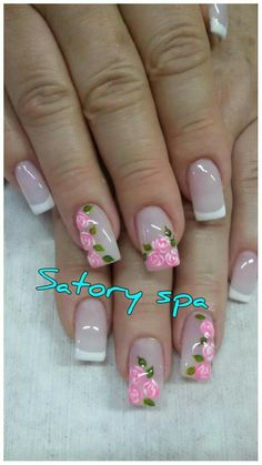 French Nail Art, French Tip Nails, Hair And Nails, My Nails, Posh Nails, Plain Nails, Floral Nail Art, Pretty Nail Art, Best Acrylic Nails