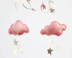 Gold Moon and Stars Cloud Mobile in gold pink white by BabyJivesCo