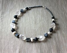 Necklace with rock crystal, labradorite, coral... from Especially for You available on http://en.dawanda.com/shop/Especially-4-You