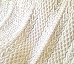 Hearts & Shamrocks Cable Afghan, Knit Afghan, Irish Afghan, Knitting Pattern,