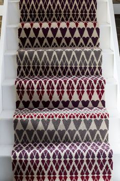 Alternative Flooring's Quirky B Margo Selby Fair Isle Reiko Carpet. The warm, rich tones of the Quirky B Margo Selby Fair Isle Reiko Carpet make it perfect for the bedroom, lounge, dining room, stairs or home office. Striped Carpets, Patterned Carpet, Carpet Stairs, Carpet Flooring, Bedroom Carpet, Living Room Carpet, Alternative Flooring, Natural Carpet, Carpet Samples