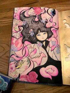 Art Journal - girl with foxes #art #artist #artwork #painting #illustration #Bleistift #sketchbook #skizzenbuch #sketch #pen #pencil #creative #picture #Kunst #mixed media #journal