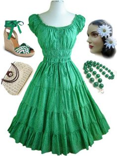 Summer dress. I'd wear this dress with some gold jewelry and my peasant sandals.
