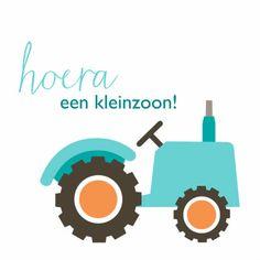 Geboortekaartje voor een kleinzoon met een stoere tractor.