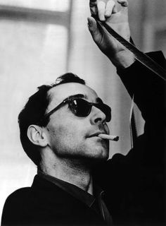 Jean-Luc Godard (French-Swiss new wave director: À bout de souffle [Breathless, Une femme est une femme [A Woman Is a Woman, Bande à part [Band of Outsiders, 2 ou 3 choses que je sais d'elle [Two or Three Things I Know About Her, Weekend # film Francois Truffaut, Werner Herzog, French New Wave, Fritz Lang, Jean Luc Godard, Band Of Outsiders, French Films, French Icons, The Villain