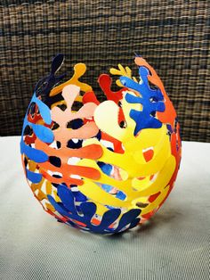 Matisse inspired papier mache egg sculpture! Would make a great class project.