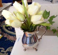 Spring Tulip Arrangement, Silver Creamer Arrangement, Easter, Mother's Day Gift by BlessMyNestShop on Etsy