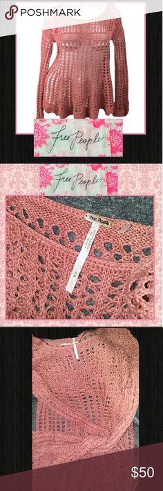 Free People Over $50 Savings! Bundle to Save MORE! Free People Crochet Top in a lovely blush color.  This beautiful top comes in a size small but I think it fits a extra small to a medium, depending on how fit you prefer it to be. Make us an offer today or hit buy now! Rock'N Ship is a top 10% Seller that adds new inventory daily! *Top shown over white cami. Necklaces sold separately. Free People Tops