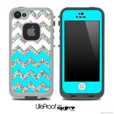 Turquoise, White and Colorful Dotted Chevron Pattern Skin for the iPhone 5 or 4/4s LifeProof Case. I NEEEEEDDD ITTTT