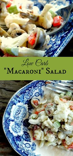 Low carb macaroni salad tastes like the real thing but without the carbs. Cauliflower is substituted for the pasta in this classic dish. lowcarb-ology.com