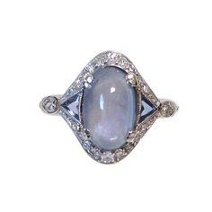 Edwardian Platinum Diamond and Star Sapphire Ring