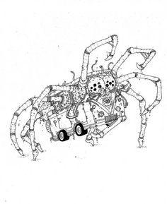 www.artunika.dk / www.artunika.com The Spider - 30 x 42 cm., A3. En original illustration af Rune Alexandersen.  Tegningen er udført på tykt syrefrit arkiverbart papir. Tegningen kommer ikke indrammet....