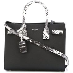 Saint Laurent baby 'Sac de Jour' tote (€2.405) ❤ liked on Polyvore featuring bags, handbags, tote bags, black, genuine leather handbags, python leather handbag, leather tote bag, python tote and tote handbags