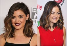 The 20 Hottest Medium Length Hairstyles: Gorgeous Caramel Highlights on Lucy Hale