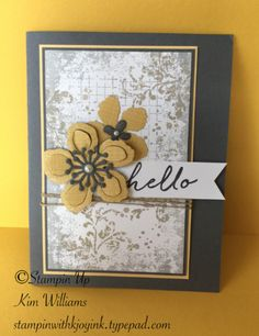 Stampin Up Occasions catlalog Botanical Blossoms stamp set and Timeless Textures. Card idea and design by Amy Deems for my #1 Stampers meeting. Love the Botanical Builder framelit dies and colors of this card. Stampin with Kjoyink www.stampinwithkjoyink.typepad.com IMG_6034