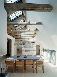 Rustic timber beams makes an interior beautiful!