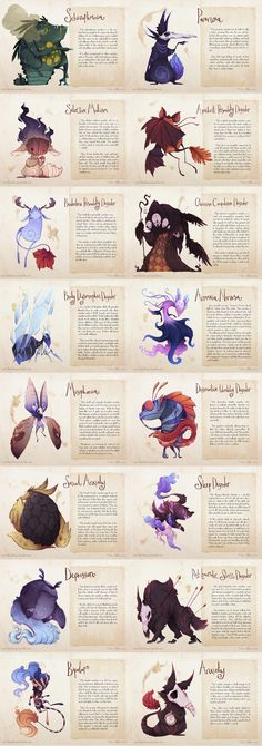 The concept of having creatures embody a mental illness is really interesting. The creatures all really differ from each other, however, the medium ties them all together. Character Concept, Character Art, Concept Art, Fantasy Creatures, Mythical Creatures, Real Monsters, Illustration, Creature Design, Dungeons And Dragons