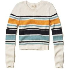Hollister Stripe Cropped Ribbed Sweater (141445 PYG) ❤ liked on Polyvore featuring tops, sweaters, blue stripe, stripe sweater, white crew neck sweater, crop top, slim fit sweaters and blue striped sweater
