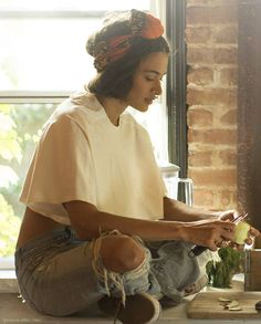 casual look - headscarf, ripped bleached jeans and oversized white tee