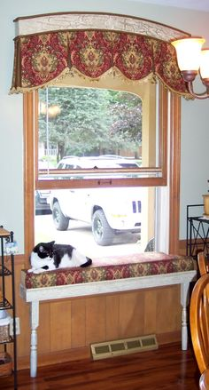 Dazzling cat window perch in Kitchen Traditional with Bench Cushion next to Wall…