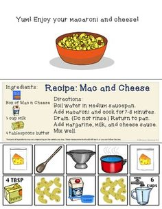 Interactive Cooking Lessons / Visual Recipes: Spaghetti + Macaroni and Cheese Cooking With Toddlers, Kids Cooking Recipes, Cooking Classes For Kids, Cooking In The Classroom, Preschool Cooking, Kindergarten Homeschool Curriculum, Homeschooling, Summer Camps, Smarty Pants