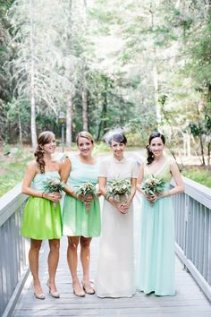 Loving these bridesmaid gowns designed by the Mother of the Bride! Photography by zacxwolf.com, Bridesmaid Dresses + Wedding Gown by The Mother of the Bride