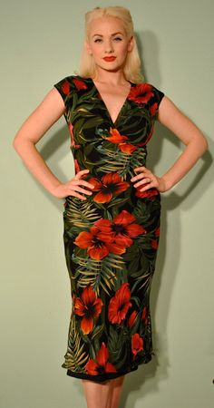 Vintage Tropical Dress Pinup Rockabilly Tiki Style by TaraMiSioux