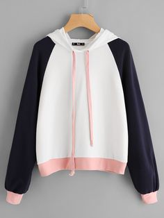 Sweat capuche manche raglan color block french shein sheinside where simplicity meets style 20 simple and cozy bohemian outfits Fashion Mode, Korean Fashion, Trendy Fashion, Boho Fashion, Fashion Outfits, Fashion Ideas, Fashion Styles, Raglan, Pullover