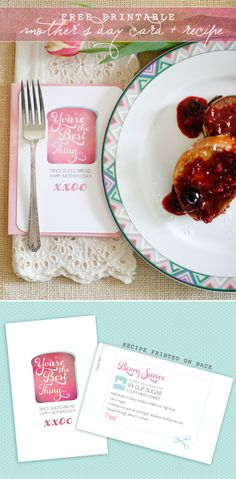 mother's day card free printable with a recipe card on the back. too darn cute!
