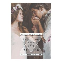 Bohemian Save the Date Custom Photo Portrait Picture Unique Invite Triangles Announcement Invitations