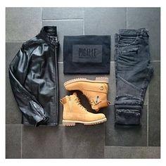 Biker jacket x pigalle shirt x Balmain biker pants x timbs #outfitgrid @gridtastics @outfitgrid