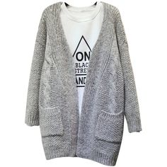 Knit Pocket Thick Casual Loose Long Sleeve V-Neck Cardigan ($13) ❤ liked on Polyvore featuring tops, cardigans, light gray, sweaters & cardigans, patterned cardigan, vneck cardigan, loose knit cardigan, thick cardigan ve long sleeve tops