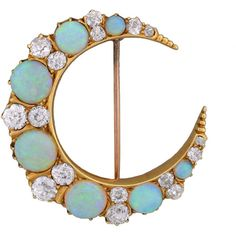 Pre-owned Hardy Brothers Art Nouveau Opal Diamond Crescent Pin (€9.120) ❤ liked on Polyvore