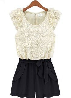 ++ White Black Sleeveless Lace Belt Jumpsuit