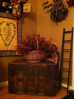 Thistle and berry basket  primitive/country setting