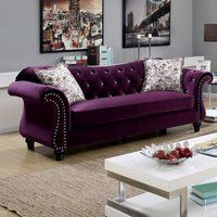 Furniture of America Dessie Traditional Tufted Sofa Set Someday 😍 Purple Furniture, Living Room Sofa, Living Room Furniture, Home Furniture, Modern Furniture, Furniture Outlet, Furniture Stores, Online Furniture, Rustic Furniture