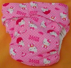 Adult abdl AIO Reusable Super Absorbent Cloth Diaper S,M,L,XL Hello Kitty T Cup