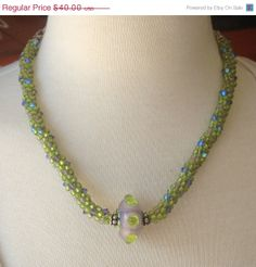 On Sale Green Beaded Necklace Lime Kumihimo by GirlBurkeStudios, $36.00