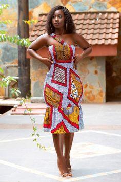 African Fashion Skirts, African Wear Dresses, African Print Fashion, Africa Fashion, Ankara Dress Styles, Mid Length Dresses, Short Sleeve Dresses, Business Dresses, Spring Dresses