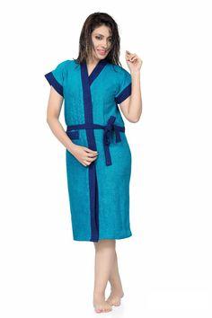 Be You Fashion Shaded Blue Cotton Bathrobe