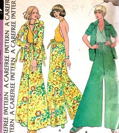 Vintage 70s Palazzo Pants, Halter top and Jacket Pattern McCalls 3543 Bust 31. Description from pinterest.com. I searched for this on bing.com/images