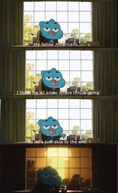 The Amazing World of Gumball Funny, true to america is now. I'm glad not to be able to vote this year cuz the candidates that are on the news all the time, America is gonna go down if either one gets elected. Stupid Funny, The Funny, Hilarious, Funny Stuff, Tumblr Funny, Funny Memes, Funny Comics, Geeks, Funny Posts